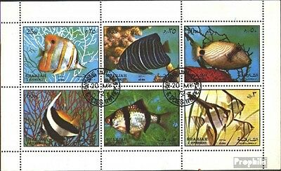 Sharjah 1194-1199 Sheetlet (complete issue) used 1972 Fish