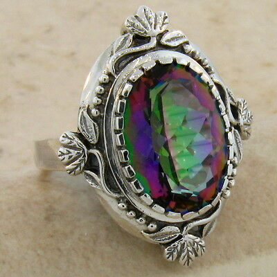 6 Ct Hydro Mystic Quartz Antique Design 925 Sterling Silver Ring Sz 10, #451