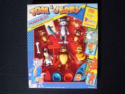 Rare Tom and Jerry Poseable Play Figure Set NIB w/ Spike, Droopy, Tyke, Quackers