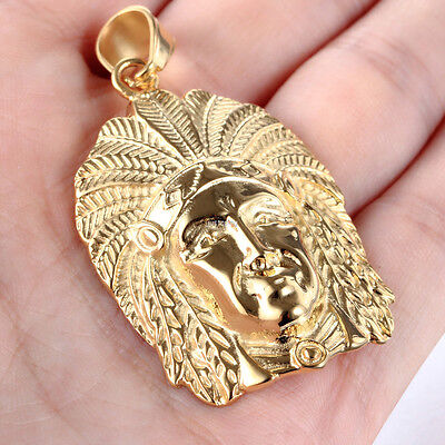 Gold Tone 316L Stainless Steel Indian Head Pendant Necklace Fashion New Men Gift