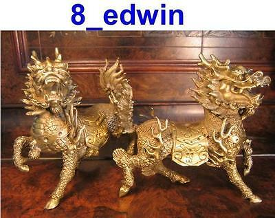 Lovely Pair of Solid Brass Dragon-hors (Qiling) - A Super Feng Shui item !