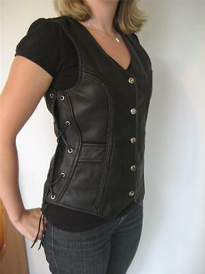 Women Classic Style Motorcycle Biker Breaded Leather Vest side Laced waistcoat