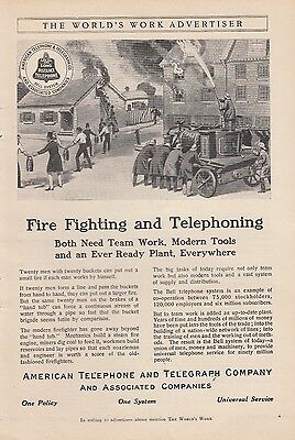 1911 AT&T American Telephone & Telegraph Co Ad: Fire Fighting and Telephoning