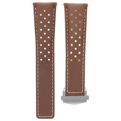 20Mm Leather Band Strap Clasp For Tag Heuer Carrera Monaco L/Brown Ws Perforated
