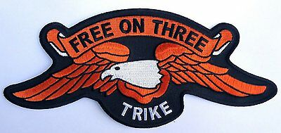 Trike Free On Three Eagle Embroidered Patch 10 Inch Patch