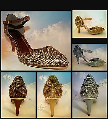 Ladies Diamante Sparkly MID Heel Ankle Strap Sandals Dancing Shoes Size S30405