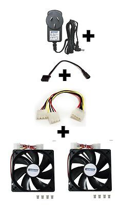 Cooler Kit w/12V PSU Power Supply Adapter+Converter/Splitter Cable+2x 120mm Fan