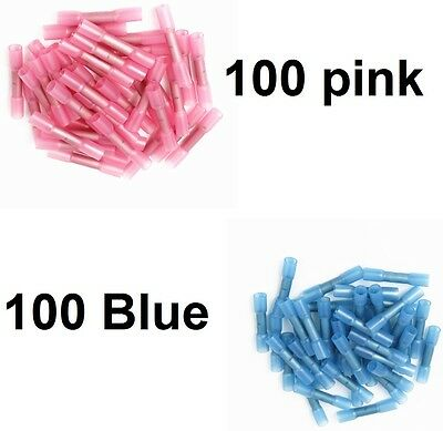 200 pcs Pink+ blue Heat Shrink Insulated Butt Crimp Terminals Wire Connectors