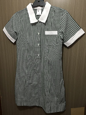 BNWT Girls Sz 10 Green/White Checked Short Sleeve Summer Uniform School Dress
