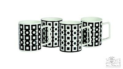 Salt & Pepper Black & White Set Of 4 Mugs Cups Kitchen Tea Coffee Porcelain