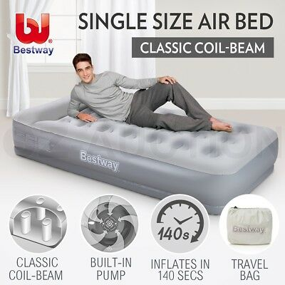 Bestway Single Inflatable Mattress Bed Built-in Air Pump Flocked Camping