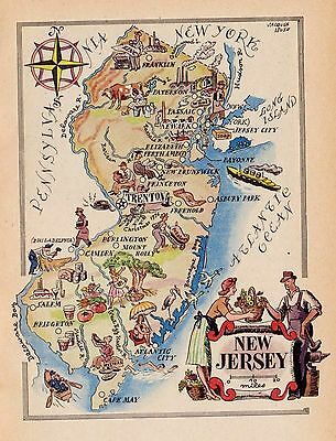 1950s NEW JERSEY Map Vintage Picture Map of New Jersey 2927