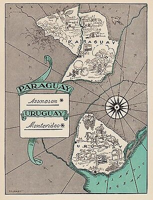 Charming PARAGUAY Map URUGUAY Pictorial Map Fun and Funky 40s Picture Map 2934