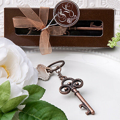 50 Vintage Skeleton key themed key chain Wedding favors Bridal Shower Favor