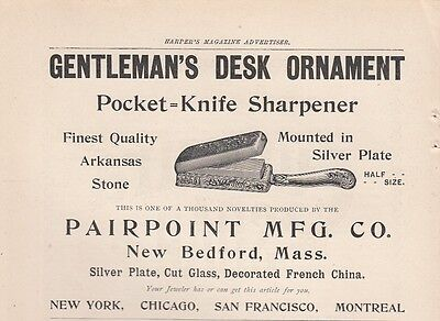 1894 Pairpoint Mfg Co New Bedford MA Ad: Pocket Knife Sharpener Arkansas Stone
