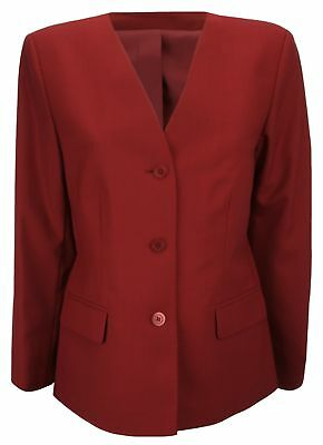 0f219adc0e3a Simon Jersey Ladies Wool Mix Collarless Suit Jacket Cinnamon Red UK Size 12