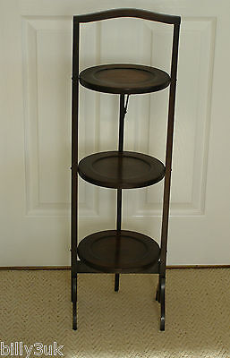 Original Edwardian Oak Wood Collapsible 3 Tier Cake / Plant Stand ~ Free UK Post