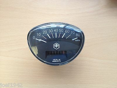 Rally Speedo 80 Mph. Black Face. For Vespa Scooters .new