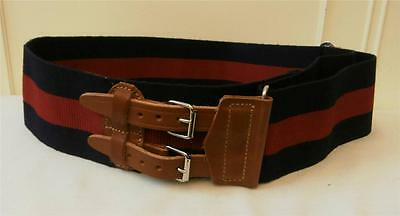 "Vintage Military Army Dress-Uniform Navy & Red Wide Webbing Belt to 41"" Waist"