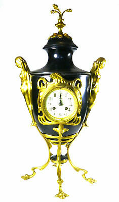Large Urn Style Clock w/ Two Maidens Flanking the Sides Ladies Ornate