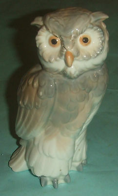 Nao Figurine Of Owl. Stamped Daisa 1979. Stands 7 1/2 Inches.