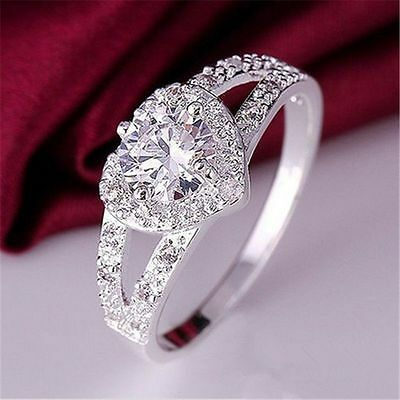 Fashion Women Silver Plated Crystal Love Heart Ring Wedding Engagement Jewelry