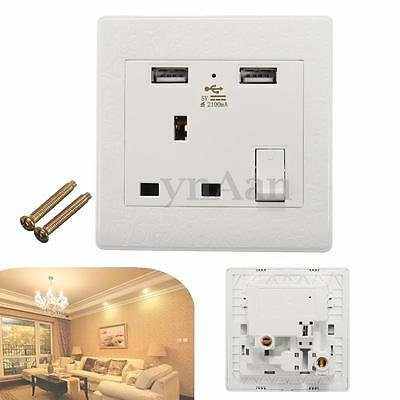 White Wall Faceplate 1 Gang Plug Socket 13A + Double 2 USB Outlets Ports Switch