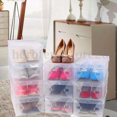 1-20 Pcs Home Plastic Clear Shoe Boot Box Stackable Foldable Storage Organizer