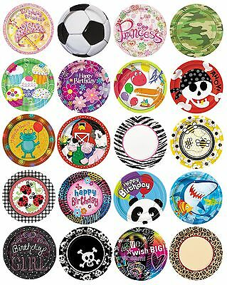 """8 x 9"""" PAPER PLATES (23cm) Range of DESIGNS THEMES (Birthday Party Supplies)"""