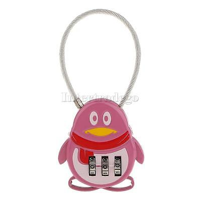 Pink Penguin 3 Dial Combination Password Security Padlocks Safety Locks