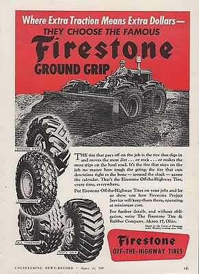 1947 Firestone Tire & Rubber Co Akron OH Ad: Off-the-Highway Tire Bulldozer