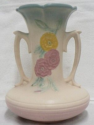Vintage Hull Art Pottery 8.5 Inches Vase With Open Rose Pattern Number 102