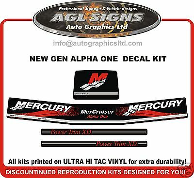 Mercruiser ALPHA ONE Outdrive Decals reproductions Mercury