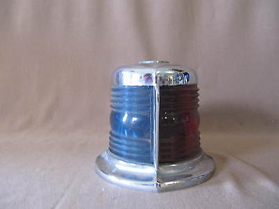 Vintage Marine Chrome Combo Blue And Red Boat Light Cover And Flag Pole Mount