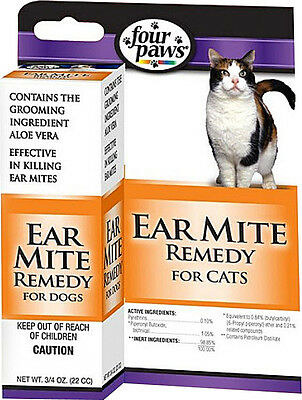 Four Paws Ear Mite Remedy Cat 3/4 Oz Cleans Kills Mites Free Shipping In The Usa