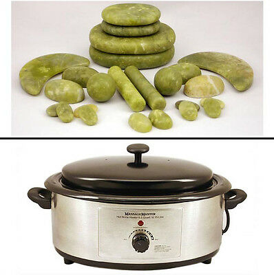 HOT/COLD STONE MASSAGE KIT: 24 Green Jade Stones plus 6.5 Quart Hot Stone Heater