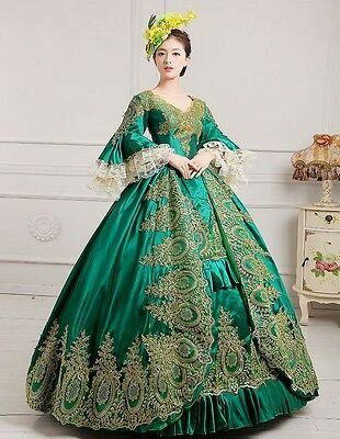 lady Victorian Gothic Period Dress Ball Gown Theare green cosplay dress