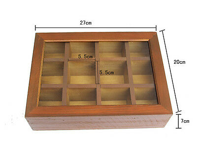 Wooden Vintage Tea Storage Box Container with Glass Top 12 Compartments