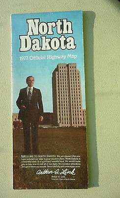 1977 North Dakota official highway state road  map