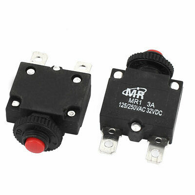 AC 125V/250V 3A NC Hand Reset Button Overload Protector Circuit Breaker 2Pcs