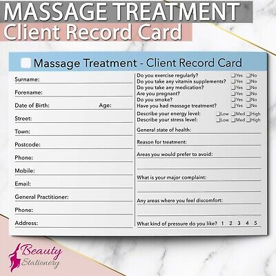 Massage Client Record Card Treatment Consultation Massage Therapists Salons A6