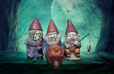 Mini  Set of 3 Zombie Garden Gnomes Garden Feature Ornaments Halloween