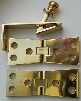 Bar Top Solid Brass Counterflap Catch With Matching Counterflap Hinges