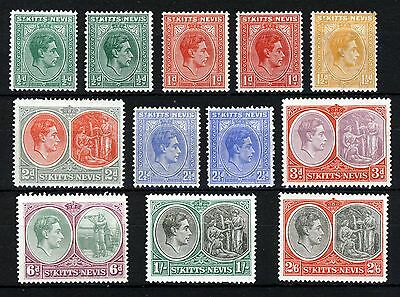 ST.KITTS-NEVIS King George VI 1938-50 Definitive Part Set SG 68 to SG 76a MINT