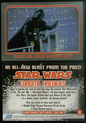 PROMO CARD: STAR WARS CHROME ARCHIVES (Topps/1999) #P1 ALL-CHROMIUM Darth Vader