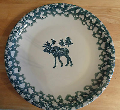 "Tienshan Moose Spongware Platter 12"" Very Nice Condition Evergreen"