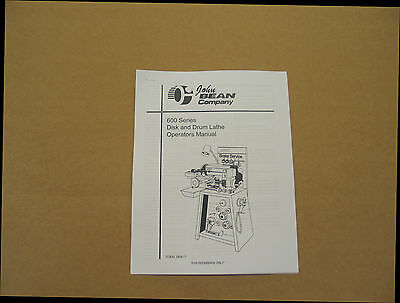 FMC / John Bean 601 Disc & Drum Brake Lathe Operating Manual 600 Series