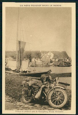 advertising Motorcycle Peugeot Konigsberg Kaliningrad Russia 1920-1930s postcard