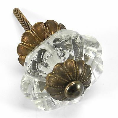 Glass Dresser Knobs, Cabinet Door Handles and Antique Brass Drawer Pulls #K164FF