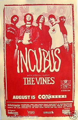 """Incubus & The Vines """"a Crow Left Of Murder Tour 2004"""" San Diego Concert Poster"""